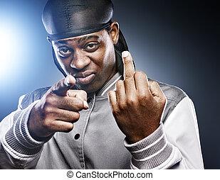 afrikanischer mann, geben, mittlerer finger, in, studio-...