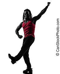 afrikanischer mann, trainieren, fitness, zumba, tanzen, silhouette