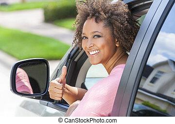 afrikanisches amerikanisches mädchen, frau, daumen hoch, fahren, auto