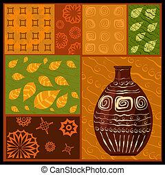 afrikansk, abstrakt, mönster, med, a, vas