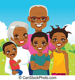 afrikansk amerikan, farföräldrar, med, barnbarn