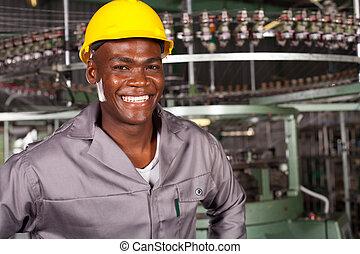 afrikansk amerikan, industriell arbetare, stående