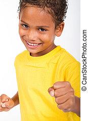 afrikansk amerikan, lycklig, pojke
