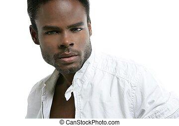 afrikansk amerikan, söt, svarting ung herre, stående
