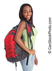 afrikansk amerikan, tonårig, utbilda flicka, med, ryggsäck
