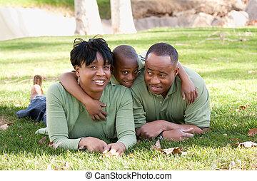 afrikansk amerikansk släkt, i parken