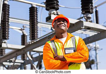 afrikansk, elektroingenjör, med, beväpnar korsat