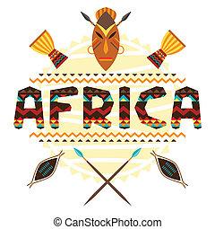 afrikansk, etnisk, bakgrund, med, geometrisk, prydnad, och, symbols.