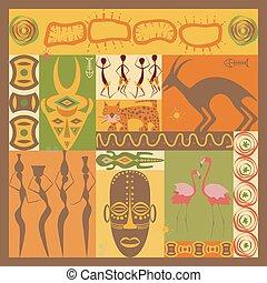 afrikansk, etnisk, illustration
