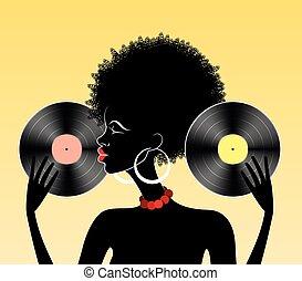afrikansk, flicka, med, vinyl