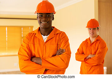 afrikansk, kroppsarbetare, och, co-worker