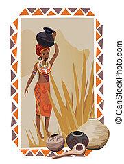 afrikansk kvinna, med, krukor