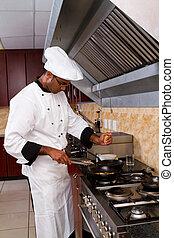 afrikansk, professionel, køkkenchef