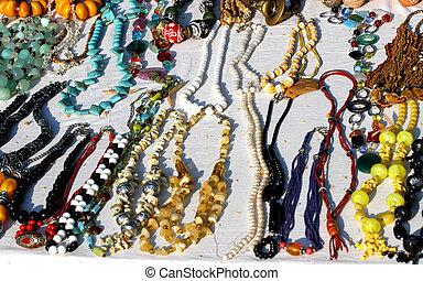 afrikansk, ursprung, årgång, halsband, till salu, hos, loppmarknad, fingertuta