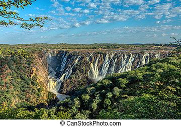 afrikas, fällt, kunene, namibia, fluß, ruacana