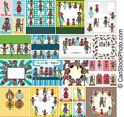 afrikas, karikatur, karte, einheimisch