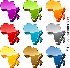 afrikas, landkarte, ikone, satz