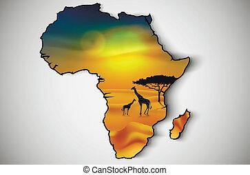 afrikas, savanne, fauna, und, flora