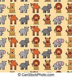 afrikas, tiere, safari, tierwelt, seamless, muster