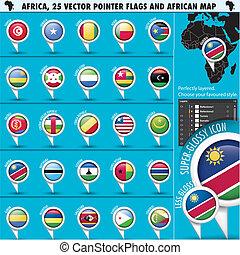 afrikas, zeiger, fahne, heiligenbilder, mit, afrikanisch, landkarte, set2
