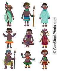 afrique, dessin animé, icônes, indigène