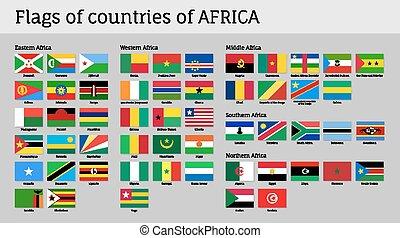 afrique, ensemble, drapeaux, grand