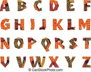 afrique, modelé, -, alphabet