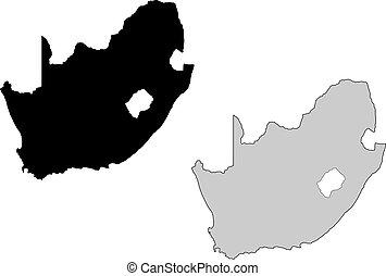 afrique sud, map., noir, white., mercator, projection.