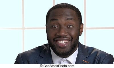 afro-américain, heureux, businessman., face souriant