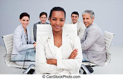 afro-américain, réunion, heureux, femme affaires
