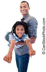 afro-américain, sien, père, fils, woth, jouer
