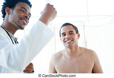 afro-american, 醫生, 檢查, patient\'s, 溫度