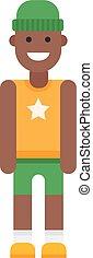 Afro american boy vector illustration. - Portrait of school...