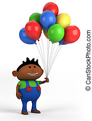 boy with balloons - afro-american boy with balloons; high...