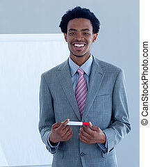 Afro-American businessman giving a presentation