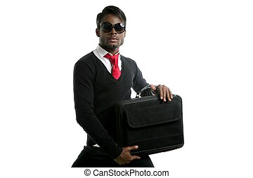 Afro american businessman student with laptop