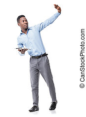 Afro-American businessman with digital tablet