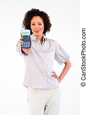 Afro-American businesswoman holding a calculator