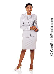 afro american businesswoman holding laptop computer