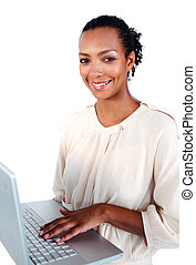 Afro-american businesswoman using a laptop
