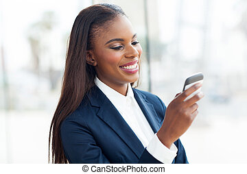 afro american businesswoman using smart phone