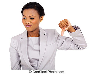 afro american businesswoman with thumb down