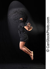 afro-american dancer in jump