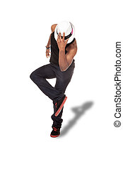 photo of afro amercan dancer over white isolated background