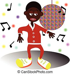 Afro American dancer - Vector illustrated Afro American...
