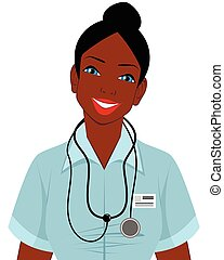 Afro american doctor - Vector illustration of a afro...