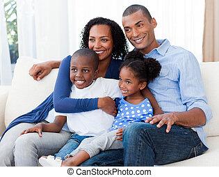 afro-american, família feliz, retrato
