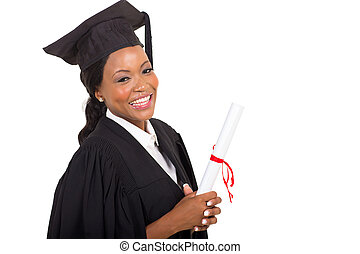afro american female college graduate close up