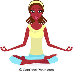 Afro - american Female practicing yoga pose isolated on white