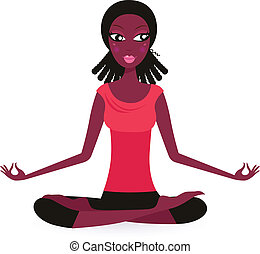 Cute Afro woman practicing Yoga. Vector Illustration.